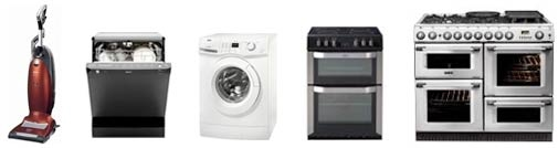 microwave, washing machine, dishwasher, cooker, range cooker